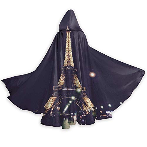 Noche Francia Torre Eiffel Capa con Capucha Disfraz Capa con Capucha Aplastada