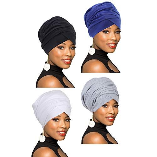4 confezioni di sciarpe turbanti a turbante, sciarpa lunga africana, scialle turbanti, capelli bohémien - - Taglia unica