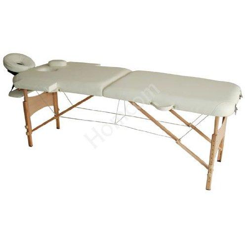 Homcom Massageliege / Bett / Couch / 2 teiliges Therapiebett / Wellnessliege, leicht, transportabel, klappbar, cremefarben