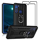FLYME for ZTE Blade A5 2020 Case with Tempered Glass Screen Protector (2 Pack), Heavy Duty Dual Layer Shockproof Rugged Non-Slip Scratch-Resistant Cover,Black