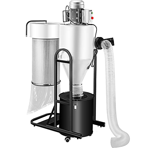 VEVOR Dust Collector, 2 HP Portable Cyclone Dust Collector, 1,500 CFM Woodworking Dust Collector with 13.2-Gallon Collection Drum and Mobile Base, 220V Dust Collection System 3-Micron Canister Kit
