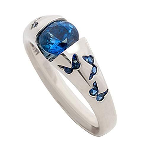 WFZ17 Anillo de dedo con incrustaciones de diamantes de imitación para mujer, ideal como regalo de boda, color azul US 6
