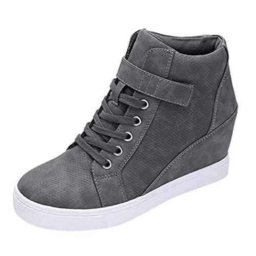 Luckycat Botas de Mujer Zapatillas Deportivas De Mujer Cuña PU Piel Altas Plataforma 7 CM Tacon Sneakers Planos Zapatos Mocasines Comodas 🔥