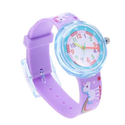 Hemobllo Reloj para niños Lindo Unicornio de Dibujos Animados Reloj de Silicona Resistente al Agua Reloj de Pulsera para niños pequeños para niñas Regalos para niños pequeños (Paquete de 2)