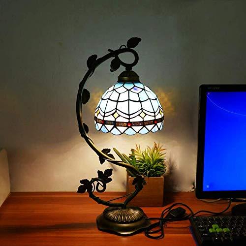 DIMPLEY Lámparas de Escritorio Tiffany Mesa de Cristal Mesa de Lectura Banquero de Cristal de Cristal Bandejo Azul Amarillo Boda Sala de Estar