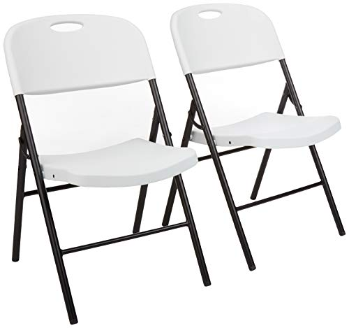 Amazon Basics - Silla de plástico plegable, capacidad de 157,5 kg, blanco, set de 2