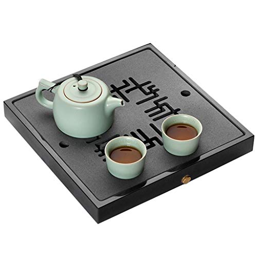 Purchase Natural Stone Tea Tray Office Mini Tea Tray Water Storage Tea Table Simple Tea Set Tray Meaningful Gift (Color : Black, Size : 45x45x3cm)