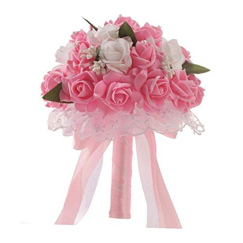 Hunpta Bouquet de mariée en soie artificielle avec perles de cristal rose