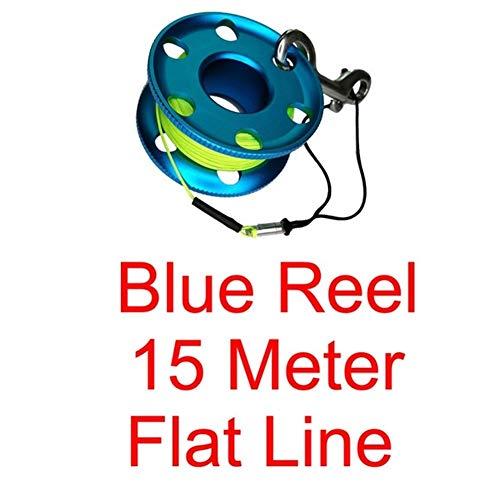 HDHUIXS Sumiso Buceo con escafandra Carrete con el Acero Inoxidable Snap Perno Clip Dedo de la Seguridad del Carrete por Submarino Diver Snorkel Cueva Fresco (Color : Blue 15M Flat Line)