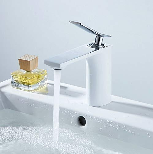 TSGPS GmbH - Rubinetto miscelatore monoforo per lavabo, finitura bianca, 1 manico, montaggio a pedana, cromato