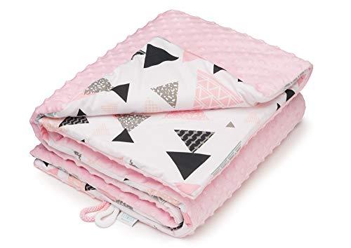EliMeli Minky Babydecke Kuscheldecke Krabbeldecke | super weichem Minky Polar Fleece | Baumwolle | Füllung | 75x100 hoch Qualität (Pink - Pink Triangles)