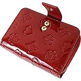 2021年モデル 二つ折り 財布 レディース 大容量 ミニ ブランド 財布 使いやすい 小銭入れ カード14枚収納 プレゼント BOX 付き Wine-Red