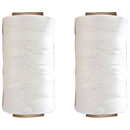Yullymerry レザークラフト 糸 手縫い糸 直径0.8mm 蝋引き糸 (260m × 2本, 白色)