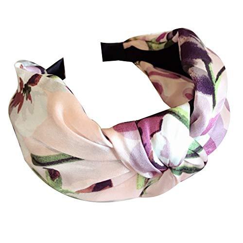 osmanthusFrag Femmes Filles Mode Floral Imprimé Large Rim Noeud Cerceau Boucle Hairband Bandeau Chapeaux Cadeaux Rose