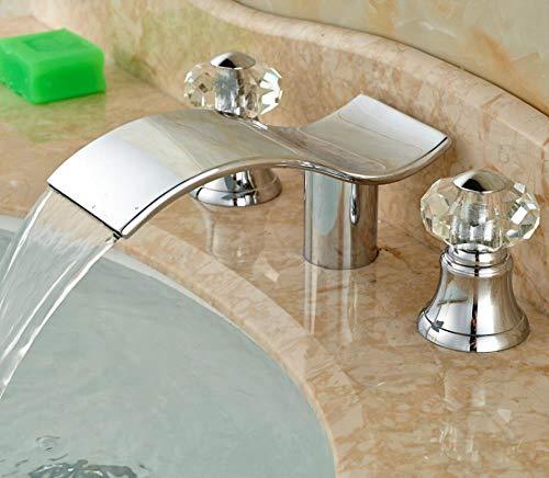 5151BuyWorld Wasserhahn Wasserfall-Badezimmer-Hahn Chorme Form Doppelte Kristall Griffe Bassin-Wannen-Hahn-Mischer-Hahn Kostenloser Versand == +