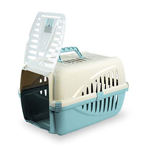 PATAM Trasportino per Animali Portata Max 8 kg – Trasportino Cane e Gatto in Plastica con Apertura Verticale 33 x 50 x 33 cm Bau Azzurro