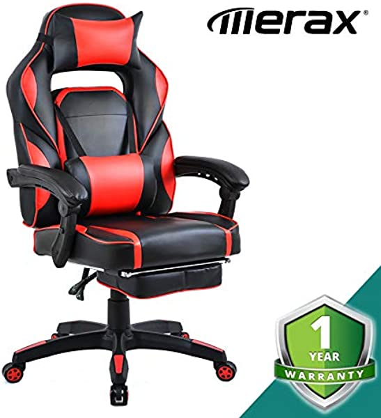 Merax Racing Office Chair With Footrest Computer Gaming Chairs 90 180 Reclining Comfy Ergonomic For Adults Max 220lbs Candy Red