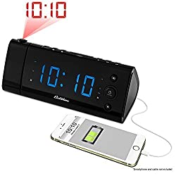Magnasonic USB Charging Alarm Clock Radio with Time Projection, Battery Backup, Auto Time Set, Dual Alarm, 1.2 LED Display for Smartphones & Tablets (EAAC475)