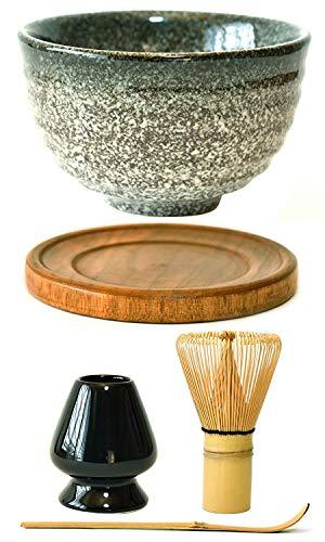 Juego completo de batidores de té verde Matcha japonés de alta calidad con accesorios y herramientas de bambú Chasen Matcha batidor y soporte Gris oscuro moteado