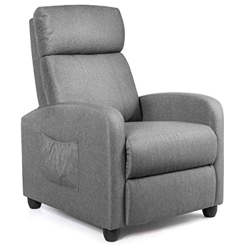 Moccha Massage Recliner Chair, Ergonomic Adjustable Single Sofa with Padded Seat, Backrest, Footrest, Reclining Sofa with Remote Control, Modern Massage Recliner for Living Room, Home, Office (Gray)