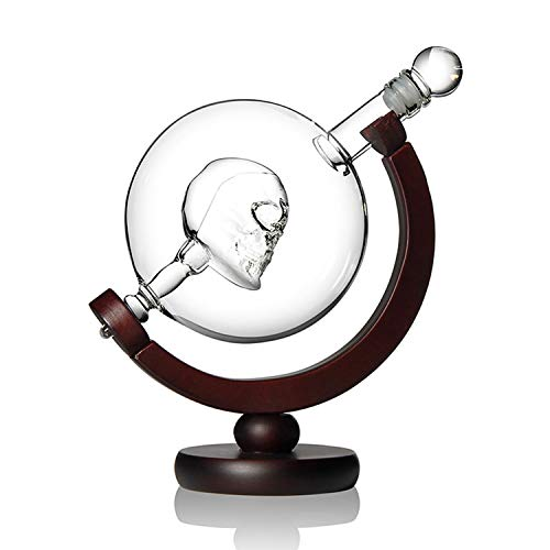 Skull Whiskey Decanter - Liqour Carafe with Crystal Stopper and Pine Wood Frame, Leadfree, 800 ML