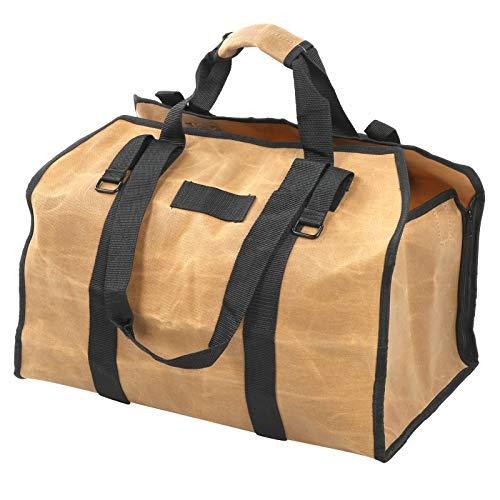 Support d'allumette de bois de chauffage, sac de bois de chauffage de camping, grande capacité cirée pour les activités de plein air de barbecues de cuisinière stockage de bois