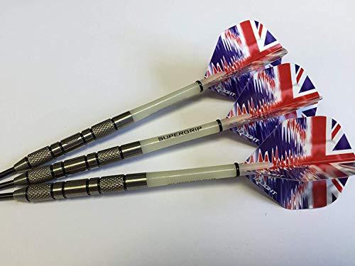 Tungsten Dart Sets Gorgeous 95% Wolfram gerändelt Darts Set, Union Jack Ripple Flights und Supergrip Stiele, Vier Gewichte erhältlich