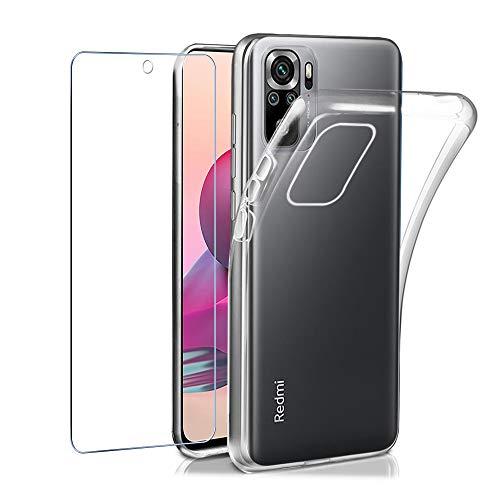 Funda para Xiaomi Redmi Note 10 Pro 4G + Cristal Vidrio Templado Protector de Pantalla, E-Lush Carcasa Transparente Suave TPU Silicona Funda Clear Ultra Delgado Antigolpes Antiaraazos Bumper Case