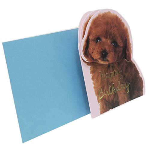 ACTIVE CORPORATION Toy Poodle Happy Birthday Card Die-Cut & Shaking Adorable Toy Poodle Dog Face Made in Japan (1)