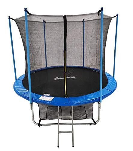 GALACTICA 10FT Round Trampoline Set Outdoor Garden Safety Net Enclosure Spring Jump Mat Rain Cover Padding Ladder Shoe Bag GT-TS-02 Blue