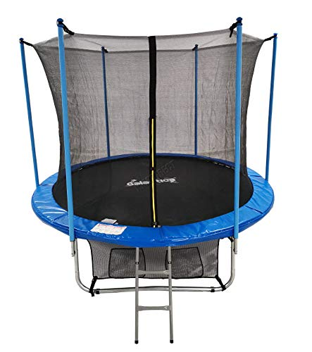GALACTICA 12FT Round Trampoline Set Outdoor Garden Safety Net Enclosure Spring Jump Mat Rain Cover Padding Ladder Shoe Bag GT-TS-03 Blue