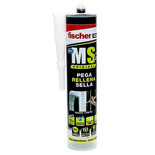 fischer - sellador de juntas MS Sellante/ADH negro (cartucho 290 ml) polímero mono-componente para pegar y sellar diferentes materiales, excelente resistencia de decoloración, sin silicona