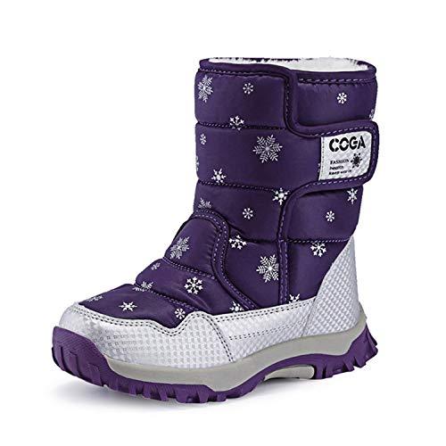Mishansha Girls Boys Toddler Little Big Kids Winter Fur Snow Boots Warm Water Resistant Antislip Outdoor Shoes Purple