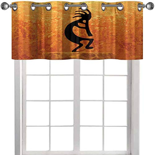 Aishare Store Blackout Valance Curtain, Kokopelli Southwestern Style Native American Ancient Belief Picture Art, 36' x 18' Curtain Valance Window Treatment for Kitchen Room(1 Panel)