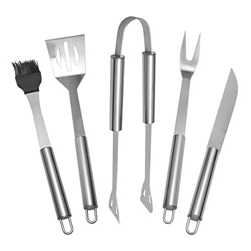 BBQ Tools Sets 5 PCS Stainless-Steel Barbecue Accessories With Storage Case Kitchen Outdoor Stainless Steel Spatula Tongs Basting Brush Knife Folk Utensils Accessories
