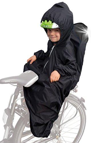Sunnybaby 14490 Regencape für Kinderfahrradsitz mit Ärmel, Reflektorstreifen und für Kinderhelm geeigneter Kapuze, schwarz