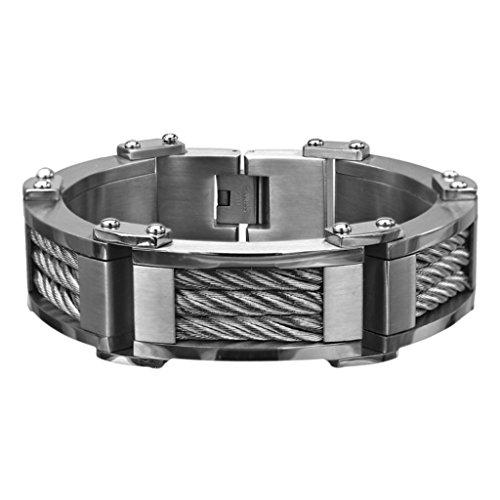 INOX Jewelry Stainless Steel Three Cable Link Matte Finish Bracelet (Grey)