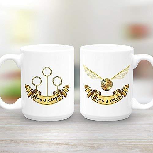 Ella es una trampa, él es un guardián, Grande, Juego de regalo de taza, Regalo de pareja, Tazas de café de quidditch de harry potter, 11 oz, Regalo