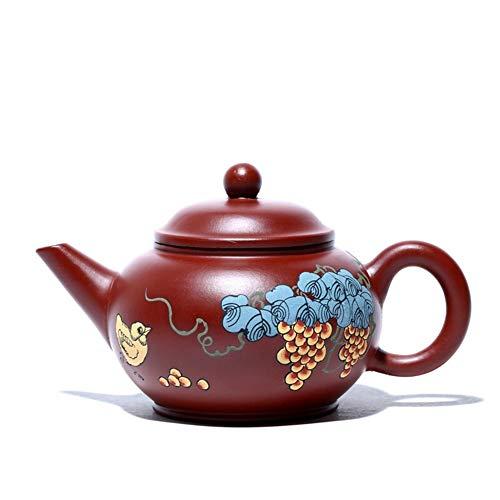 LPLHJD Teapot Ore Mano teiera di tè Dahongpao Livello Teiera (Color : Big Red Pouch)