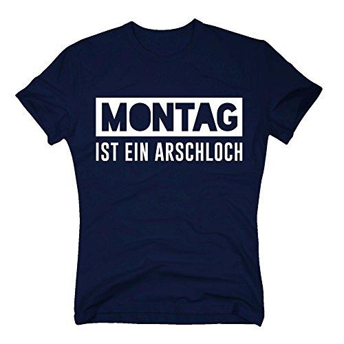 Herren T-Shirt - Montag ist EIN Arschloch - von Shirt Department, dunkelblau-Weiss, L