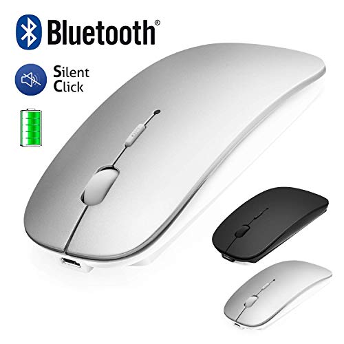 Bluetooth Maus Kabellose für Laptop / iPad / iPhone / Mac (iOS 13.3.2 und höher) / PC / Tablet, Wiederaufladbare Leise Mini Maus für Windows / Linux / Mac, 3 DPI Einstellbar Bluetooth4.0 2.4G Silber