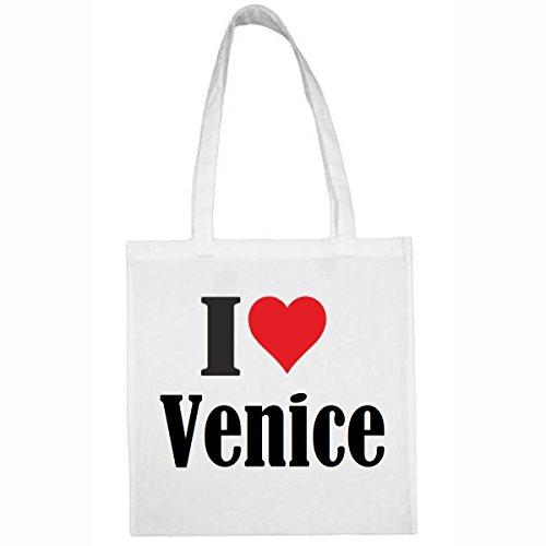 Tasche I Love Venice Größe 38x42 Farbe Weiss Druck Schwarz