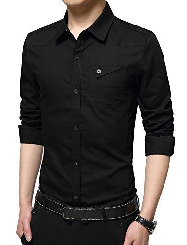 XTAPAN Mens Casual Cotton Slim Fit Long Sleeve Button Down Dress Shirt Black 3XL