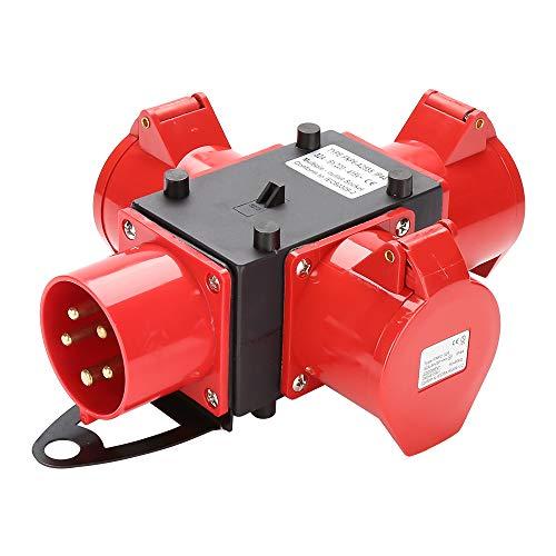Hengda Baustromverteiler Verteiler 3 x CEE 400V/32A IP44 CEE-Steckdose 5 Polig Mit Sicherheitsklappdeckeln Für Baustelle