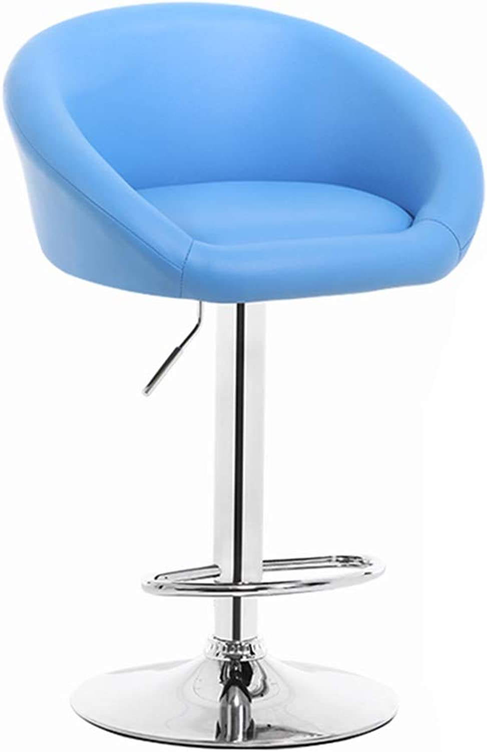 LIQICAI Tall Bar Stools Adjustable Bar Chairs with Back PU Leather Swivel Bar Stool Kitchen Counter Stools Dining Chairs, 5 colors (color   bluee)