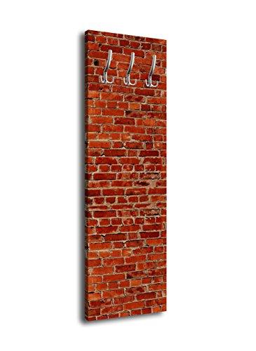 wandmotiv24 Garderobe mit Design Klinkersteine Rot G152 40x125cm Wandgarderobe Stein Klinker Alt Wand