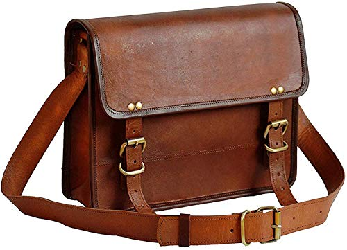 ANUENT Leather Bags 13' Inch Men's Genuine Leather Messenger College MacBook Air Pro Laptop Ipad Tablet Briefcase Satchel Bag… (13 inches)