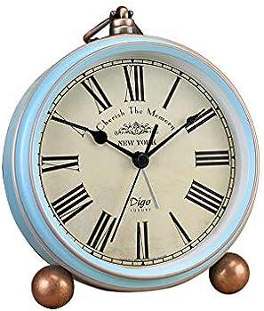 HeQiao Vintage Silent Non-Ticking Desk Alarm Clocks
