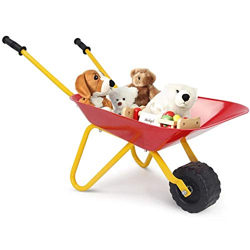 4everwinner Kid's Wheelbarrow Toy, Gardening Toys for Kids Metal Wheel Barrel Outdoor Play Equipment Toddler Tool Set with Steel Tray and Rubber Hand Grips, Red