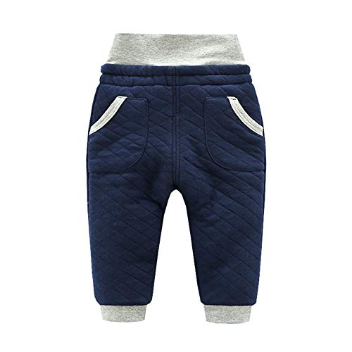 ALLAIBB ALLAIBB Kleinkind scherzt warme Starke Herbst-Schlafhose warme hohe Taillen-Pyjamaunterseite 1-4T Size 80 (Blau)